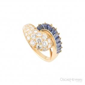 Oscar Heyman Diamond Sapphire Ring 1.19ct G/VS